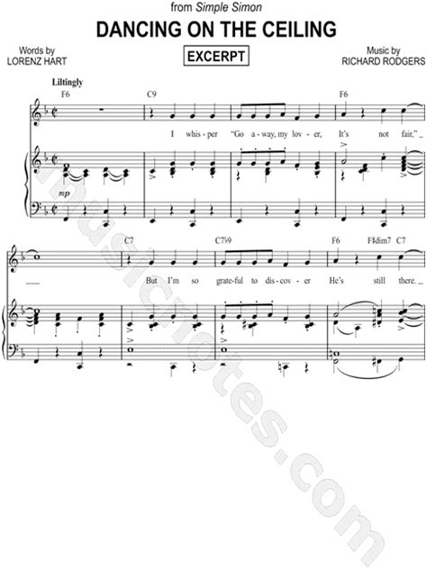 Lyrics To On The Ceiling by Quot On The Ceiling Excerpt Quot From Simple Simon Sheet In F Major Transposable