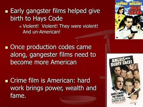 gangster film presentation ppt hays code 1930 1968 and the crime movie powerpoint