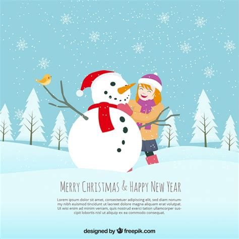 commercial woman hits snowman background of lovely little girl making a snowman vector