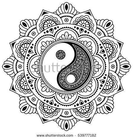 design pattern site du zero vector henna tatoo mandala yin yang decorative symbol