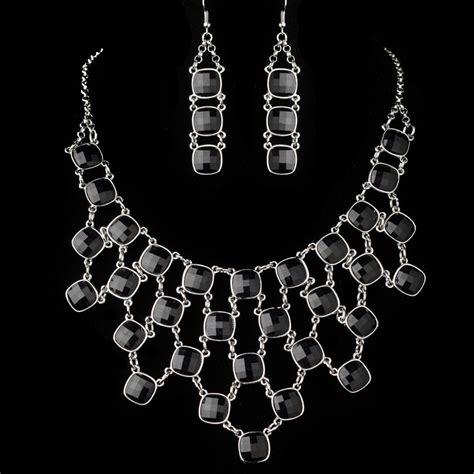 silver black acrylic fashion jewelry set 9502