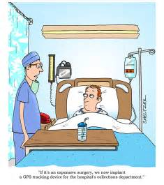 Of patient lying in hospital bed doctor says hospital funny bed