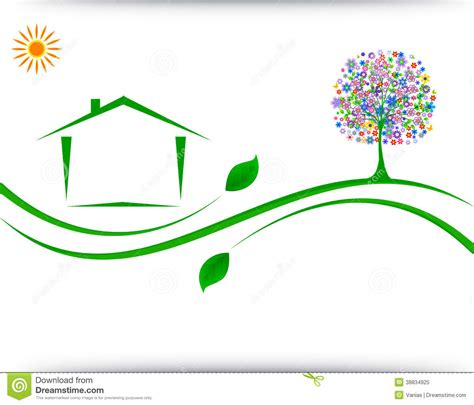 house logo design vector house logo design stock vector image of green icon