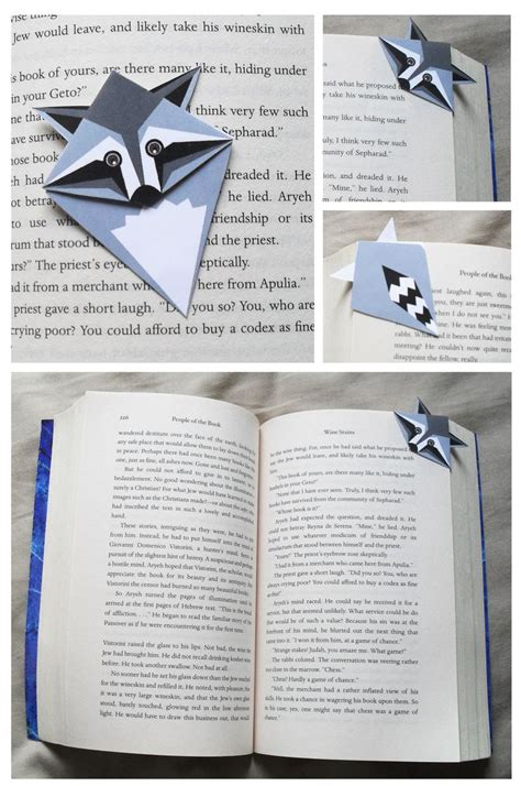 Origami Bookmark Panda - racoon bookmark projects to try racoon