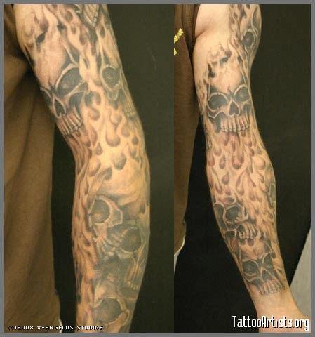 tribal flame sleeve tattoo sleeve designs and skull