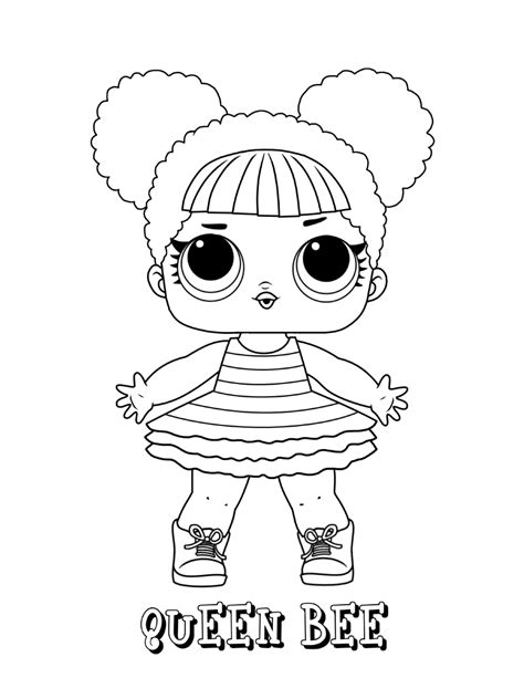 queen bee lol doll coloring page  printable coloring
