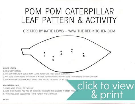 Leaf Pattern Activities | the red kitchen pom pom caterpillars free printable