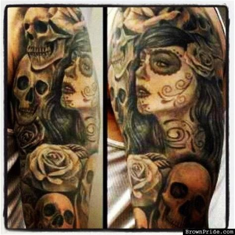 day of the dead tattoos sleeves half sleeves day of the dead and the dead on