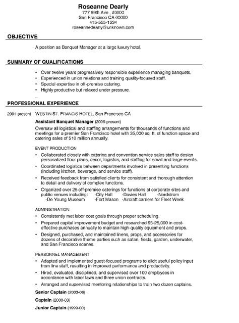 catering operations manager resume 28 images 10 sle of