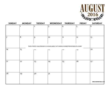 Calendar Home Get Your Free Printable August 2016 Calendar Home