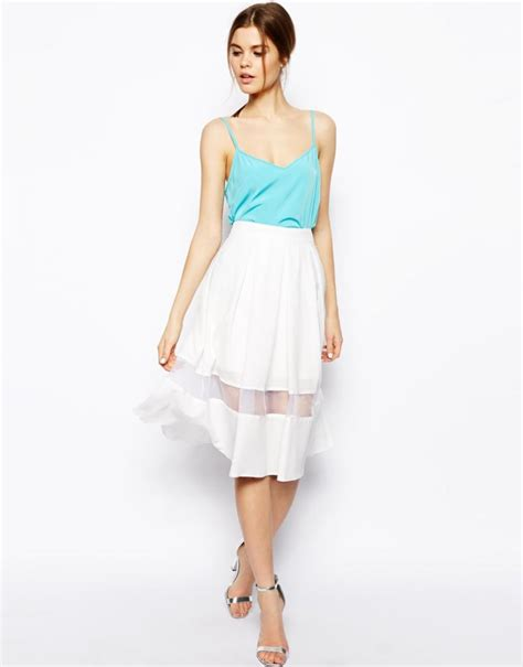 Foreni Plain Flare Mini Dress white sheer panel flare midi skirt favourite