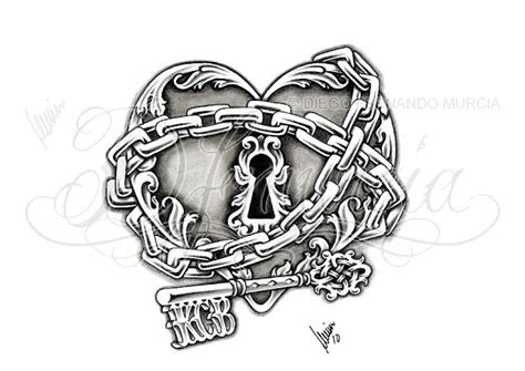 heart chain tattoo designs 24 best images about key lock ideas on