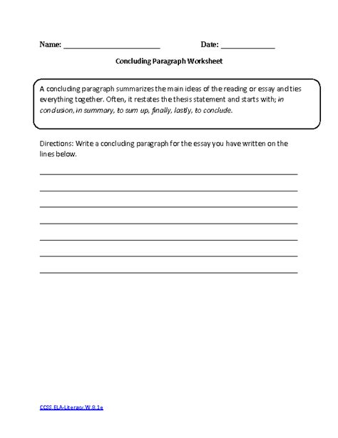 Writing Paragraphs Worksheets by 8th Grade Common Writing Worksheets