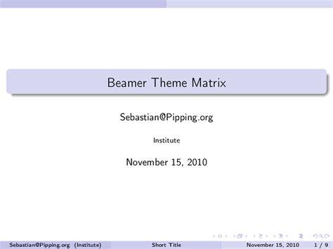 beamer theme warsaw options beamer theme matrix