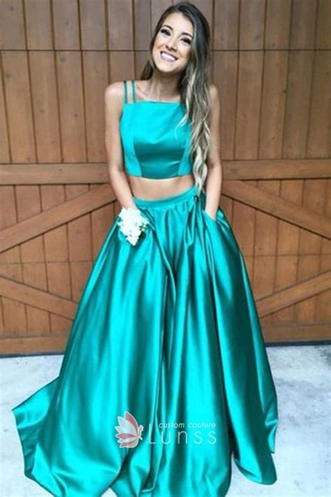 turquoise satin  piece prom dress lunss