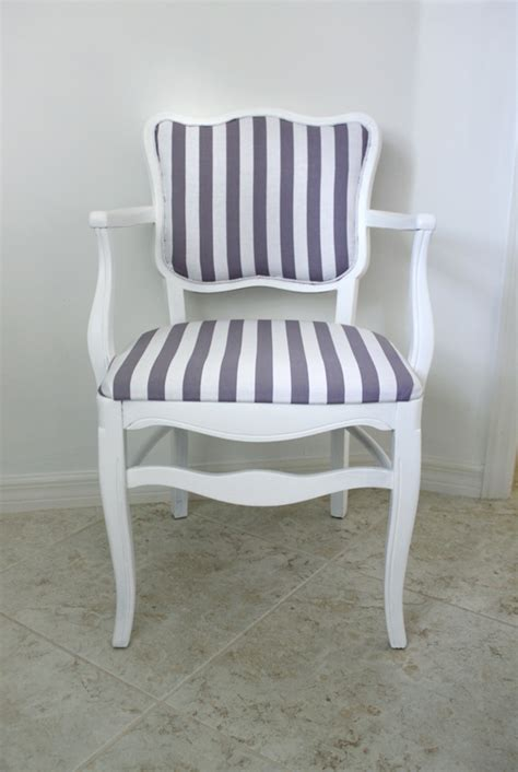 Gray And White Striped Chair Furniture Makeover House Mix
