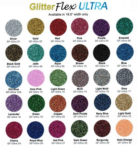 glitter color chart couture
