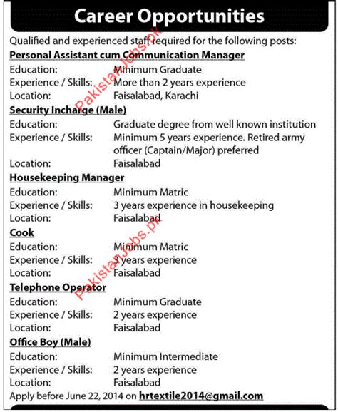 personal assistant security housekeeping cook office boy others companies in lahore