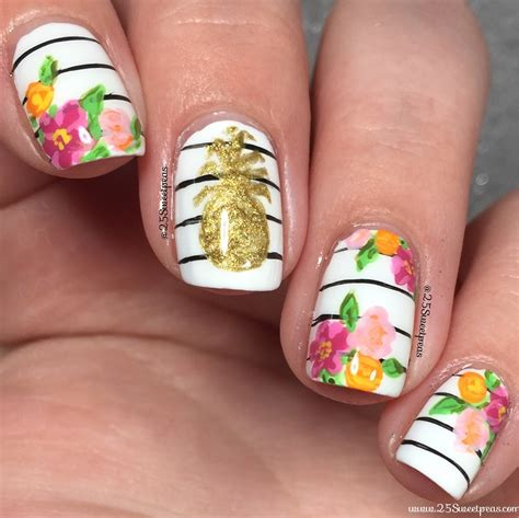 Nail With Nail Only by Pineapple And Floral Nail For Summer Using