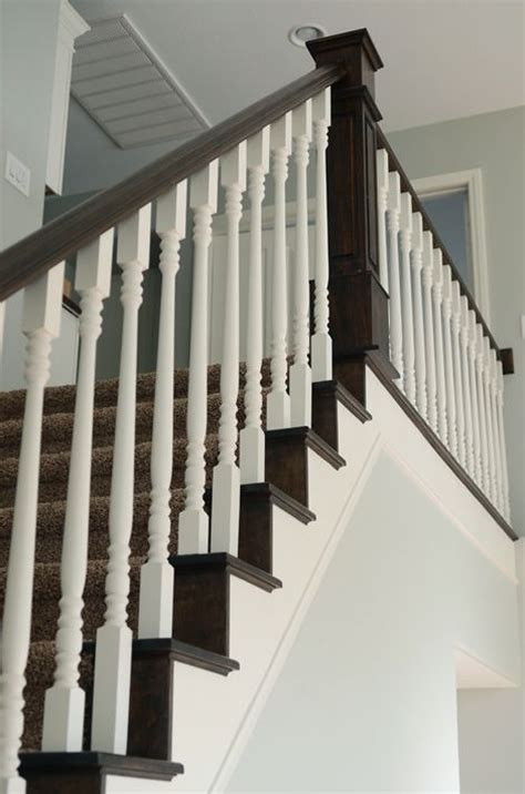 dark wood banister nice house redo that s mostly paint love especially the