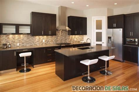 L Shaped Kitchen Design With Island by Modernas Cocinas En Color Wengu 233