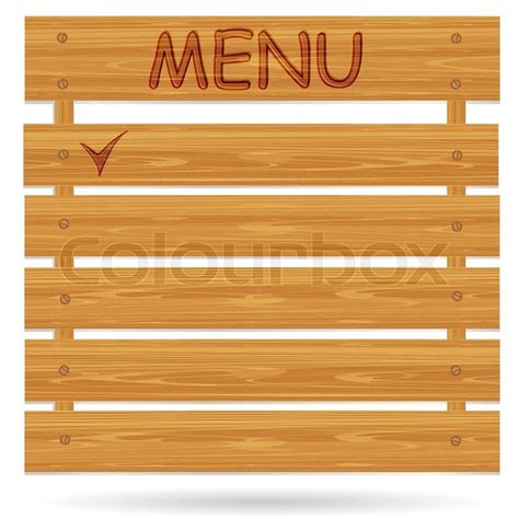 vector board layout signboard with an inscription made of a wood board on a