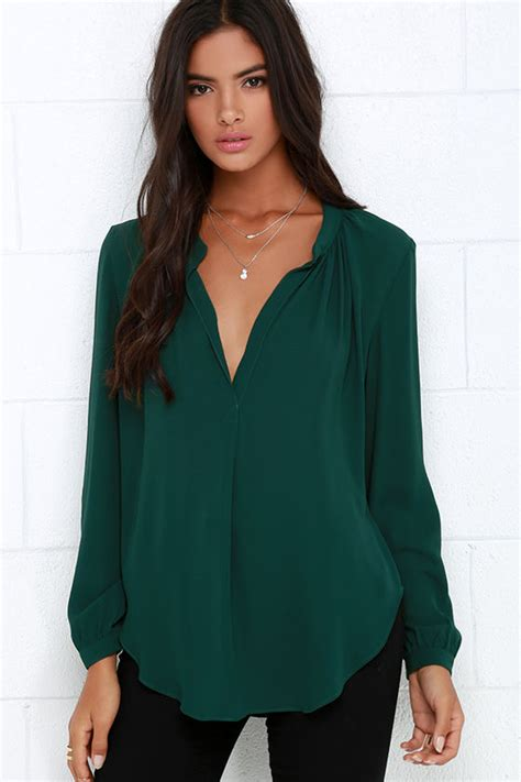 chic green top sleeve top v top 44 00