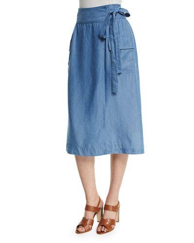 Tie Waist Denim Midi Wrap Skirt wrap front skirt neiman