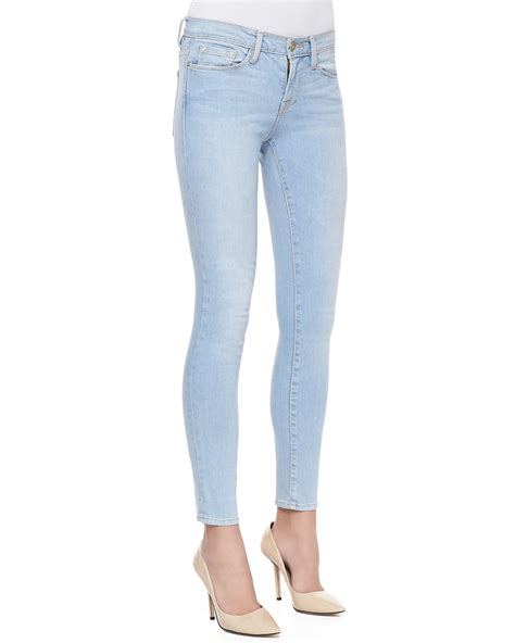 light blue skinny jeans womens frame le skinny light wash jeans in blue lyst