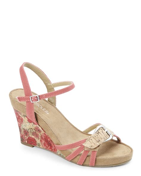 coral wedge sandals aerosoles coral plush around wedge sandals in lyst