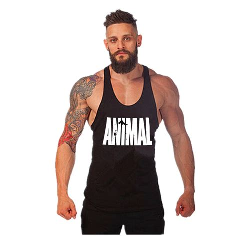 bodybuilding clothing weightlifting shirts fitness apparel for men animal print tank tops men reviews online shopping