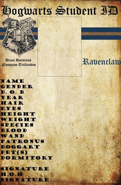 hogwarts id card template ravenclaw hogwarts id by hogwartslover on deviantart