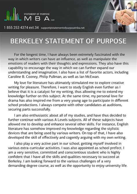 Statement Of Purpose For Mba Admissions by Berkeley Statement Of Purpose Statement Of Purpose Mba