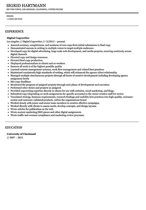 Digital Copywriter Sle Resume by Digital Copywriter Resume Sle Velvet