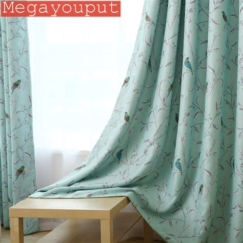 blue bird curtains 2016 new arrival 1pc blue bird printed window curtains for