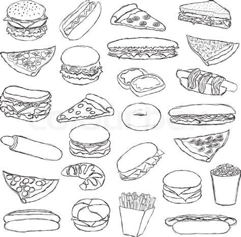 fast doodle big doodle fast food set vector colourbox