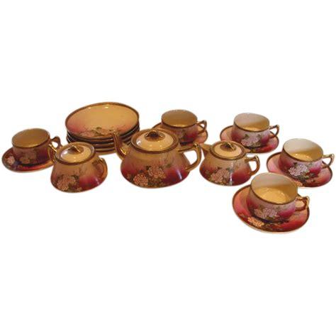 Japanesse Tea Set Pink Flower japanese satsuma tea set for five painted