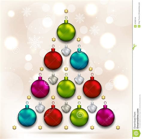 christmas tree made of baubles glowing background stock