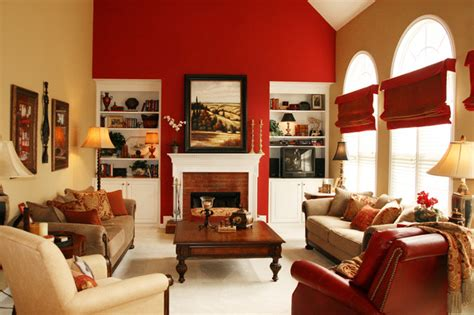 red accent wall in living room open family room breakfast area in bold colors
