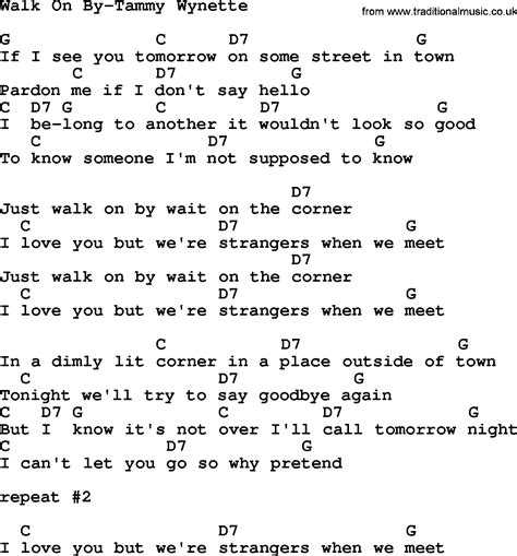 country walk on by tammy wynette lyrics and chords