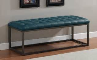Contemporary Benches For Bedroom Healy Teal Leather Tufted Bench Contemporary Upholstered Benches By Overstock