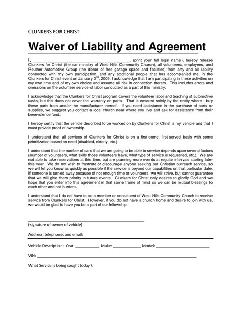 Sle Volunteer Contract Letter Waiver Agreement Template 28 Images Doc 400518 Liability Agreement Sle Release Of Doc