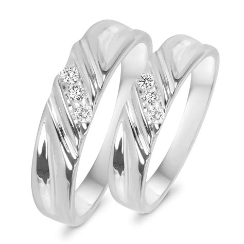 1 10 ct t w his and hers wedding rings 14k white