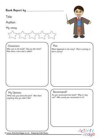 book report harry potter harry potter worksheets