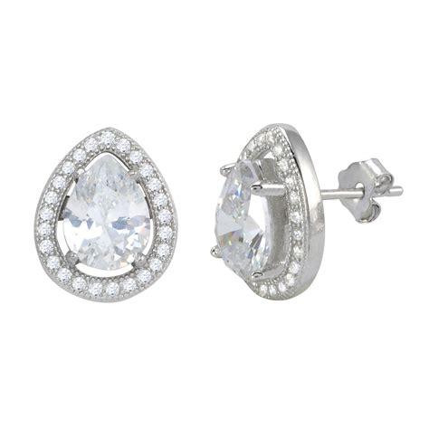 sterling silver halo cubic zirconia teardrop stud earrings