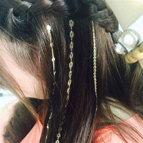 temporary hair tattoos 2016 new trend hair sticker gold hair in