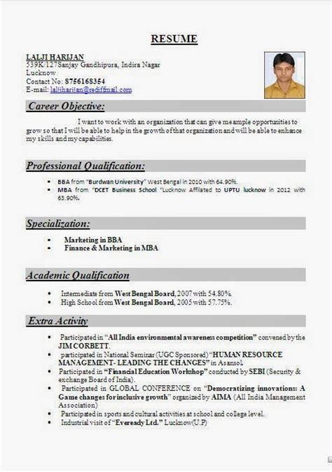 Cv Sles For Bba Freshers Call Center Resume Exles