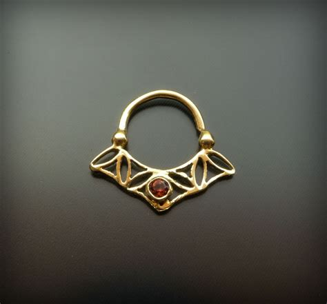 Handmade Septum Jewelry - flower of gold plated septum ring with garnet for