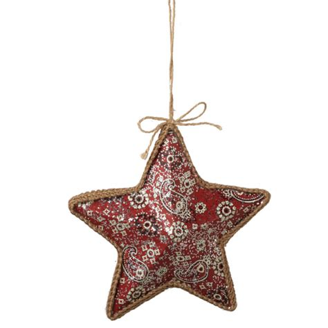 bandana print star christmas ornament