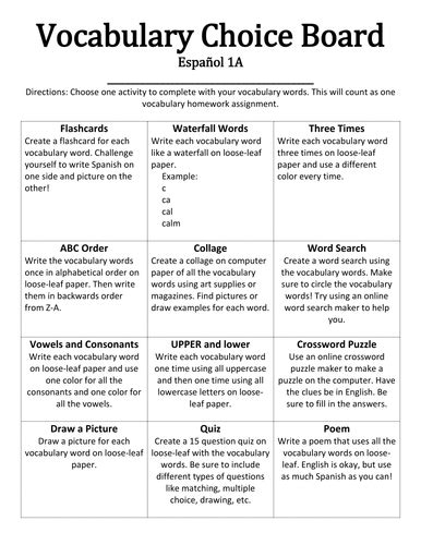 100 college essay vocabulary list lessons 1 vocabulary homework choice board by jenniferannette teaching resources tes